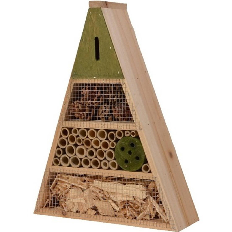 Decoris Lichtgroen Insectenhotel Huisje 19 Cm Driehoek Insectenhotel online kopen