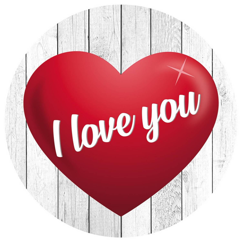 100x Bierviltjes I Love You Hartje - Valentijn / Bruiloft / Huwelijk / Romantisch - Glazenonderleggers / Onderzetters