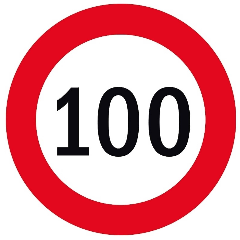 100x Bierviltjes 100 Jaar Thema Stopborden - Leeftijd Feestartikelen En Versieringen