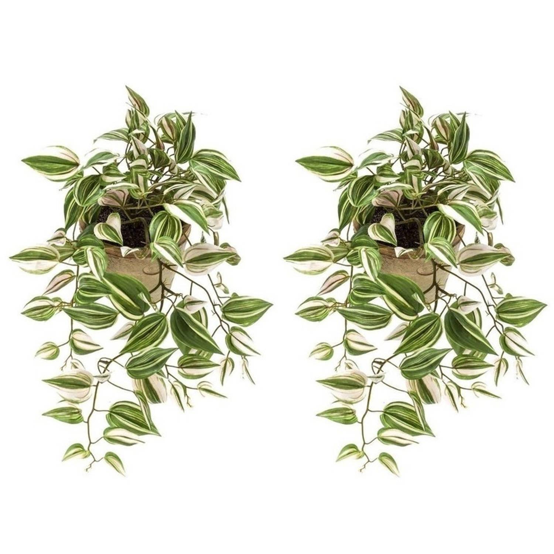 2x Groene Tradescantia/vaderplant kunstplanten 70 cm in pot - Kunstplanten/nepplanten