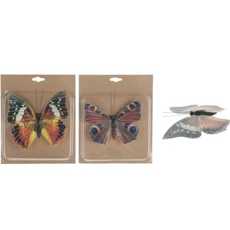 2x Kerstboomversiering Vlinders Op Clip 17 Cm Kerstfiguren Vlinders