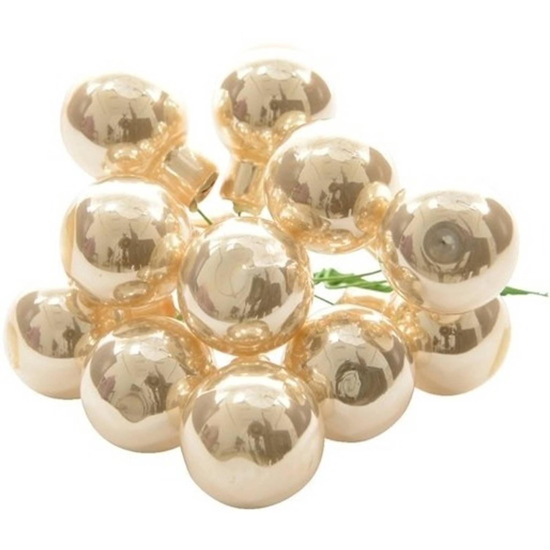 Korting 10x Mini Glazen Kerstballen Kerststekers instekertjes Parel 2 Cm Parel Kerststukjes Kerstversieringen Glas