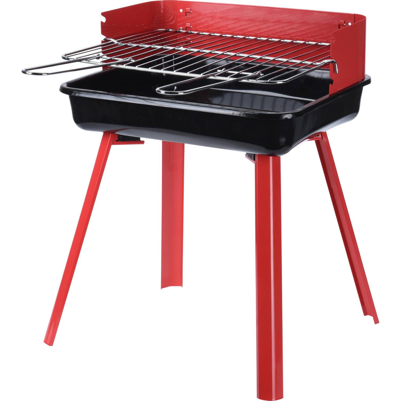 4goodz EASY BBQ houtskool barbecue - rood/zwart - GS/TUV certificaat