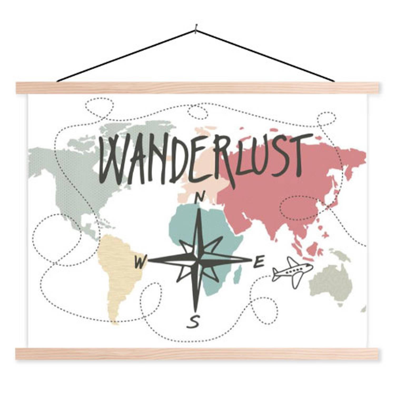 Schoolplaat Wereldkaart Wanderlust
