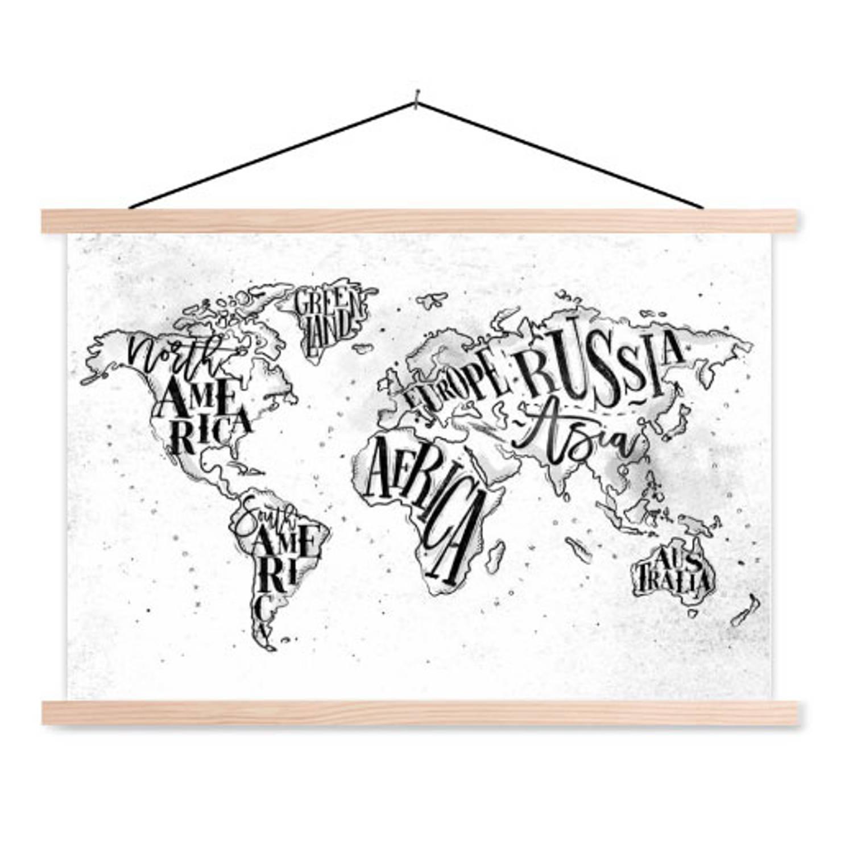 Schoolplaat Wereldkaart Continenten