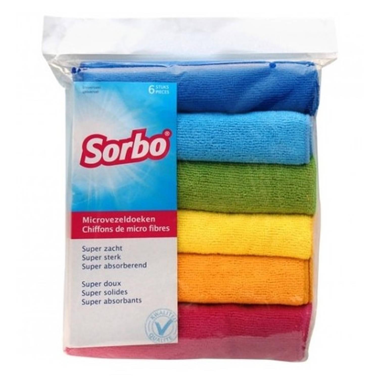 12x Sorbo Microvezeldoek Gekleurd 40 X 40 Cm - Vaatdoeken Microvezel - Micorvezeldoekjes