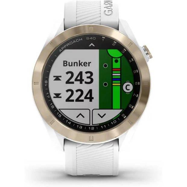 Garmin Approach S40 Premium GPS Golfhorloge - Lichtgoud Wit