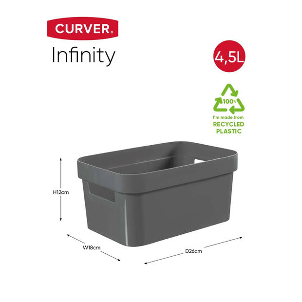Curver Infinity opbergbox - 4,5L - 100% Recycled - Donkergrijs