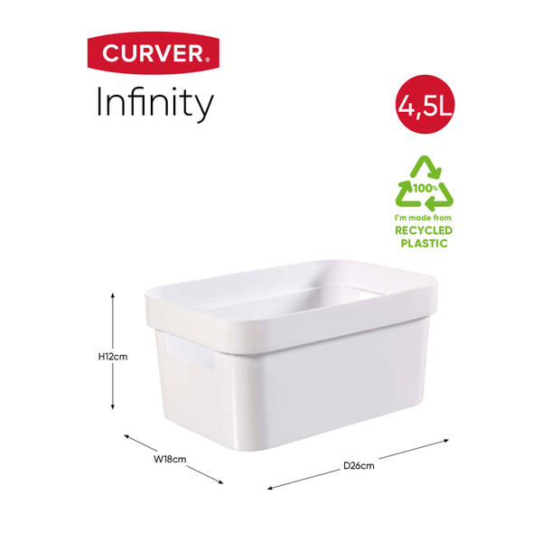 Curver Infinity Opbergbox - 4,5L - Wit - 100% Recycled