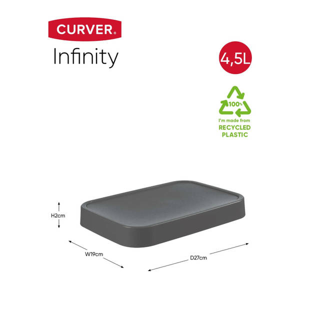 Curver Infinity Deksel - 4,5L - 100% Recycled - Donkergrijs