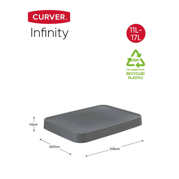 Curver Infinity Deksel - 11+17L - 100% Recycled - Donkergrijs