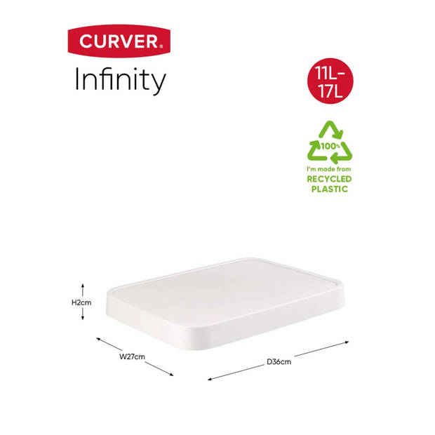 Curver Infinity Deksel - 11+17L - Wit - 100% Recycled
