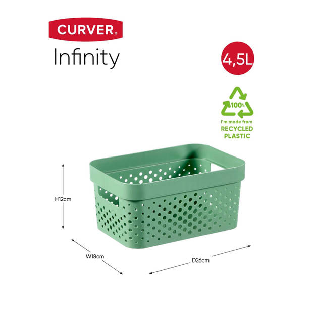 Curver Infinity Dots Opbergbox - 4,5L - Groen - 100% Recycled