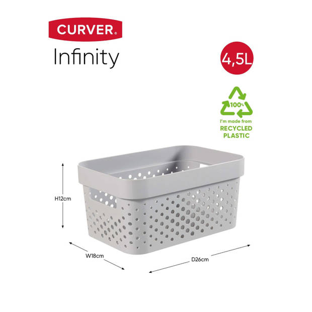 Curver Infinity Dots Opbergbox - 4,5L - Lichtgrijs - 100% Recycled