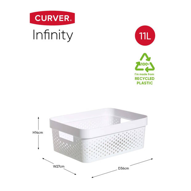 Curver Infinity Dots Opbergbox - 11L - Wit - 100% Recycled