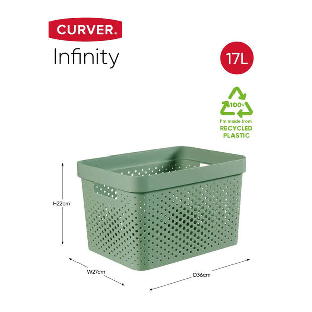 Curver Infinity Dots Opbergbox - 17L - Groen - 100% Recycled