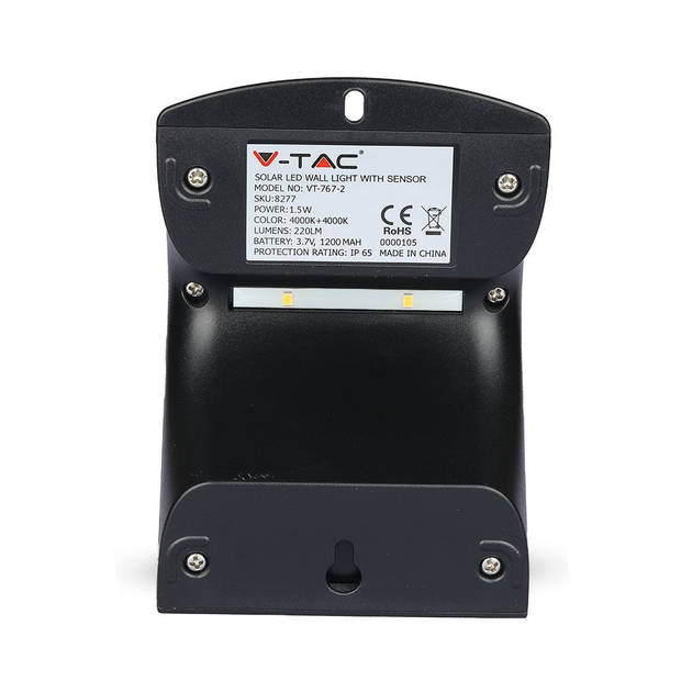 V-tac VT-767-2 LED solar buitenverlichting - 1,5W - 220Lm - zwart