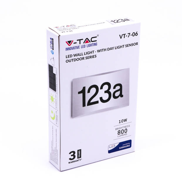 V-tac VT-7-06 LED wandlamp met huisnummer - 3000K - 800 Lumen