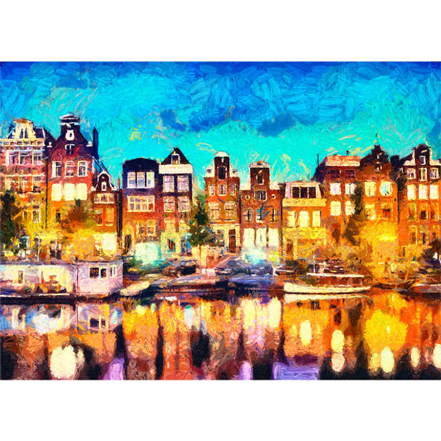 Schilderij Amsterdamse Grachtenpanden