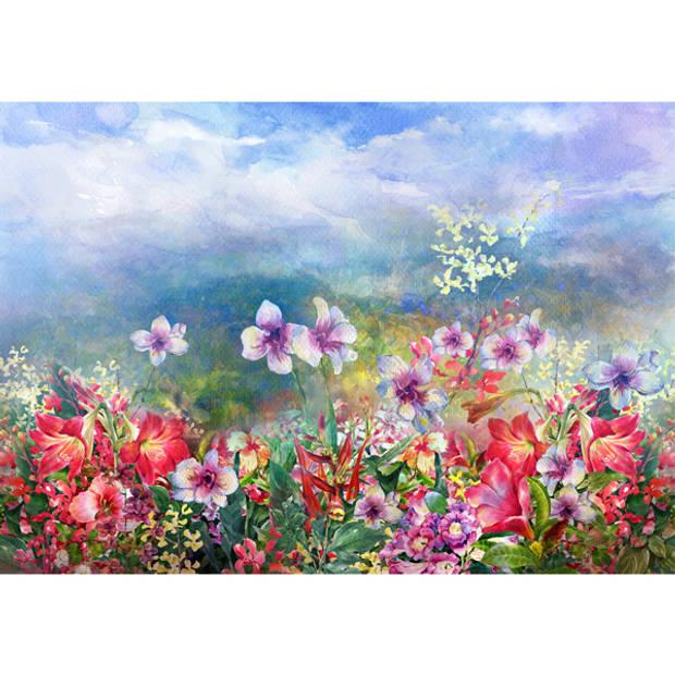 Schilderij Kleurig Bloemenveld