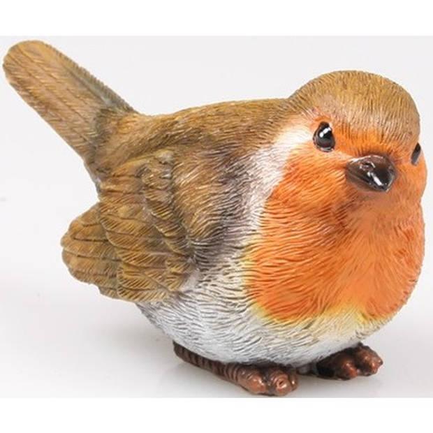 Roodborstje vogel dieren beeldje 11,5 x 5 x 6 cm - Tuin decoratie/woonaccessoires ? Dieren/vogel beelden