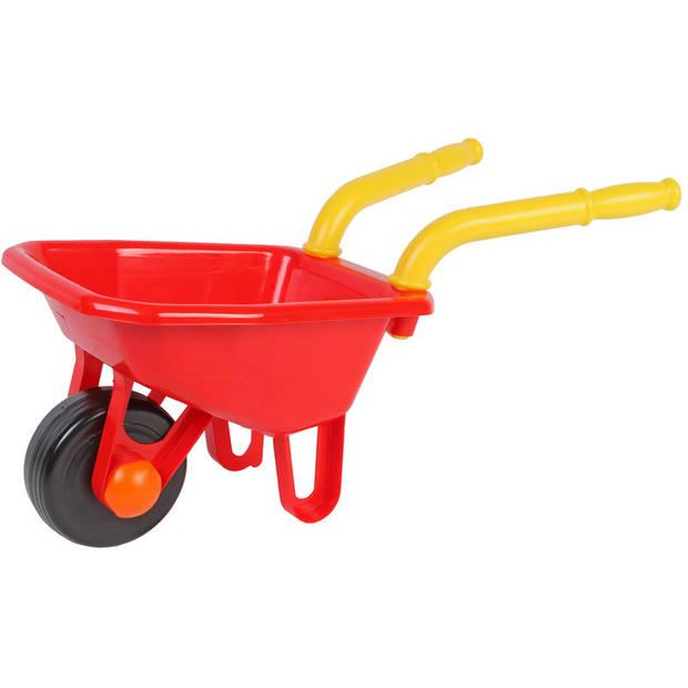 Speelgoed kruiwagen rood voor kinderen 25 x 66 cm - jongens en meisjes - buitenspeelgoed / klusmateriaal voor tuin