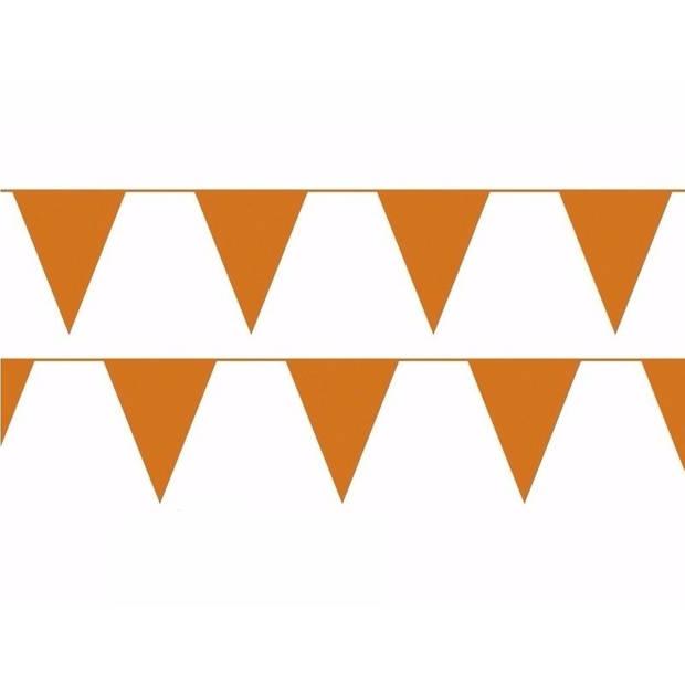 Oranje plastic buiten feest slinger 100 meter - 100m vlaggenlijnen - Koningsdag vlaggenlijn - WK / EK versiering