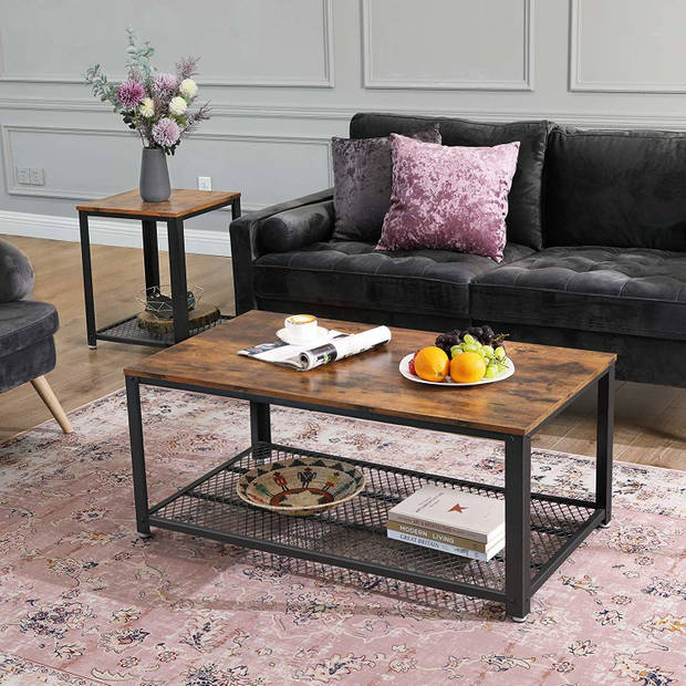 Salontafel - salon tafel industrieel - rustiek bruin en zwart - 106.2x60.2x45cm - gaasplank recht