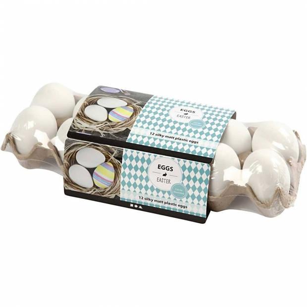 Set van 12x stuks eieren wit plastic 6 cm - Paaseieren - Pasen decoratie knutsel materiaal