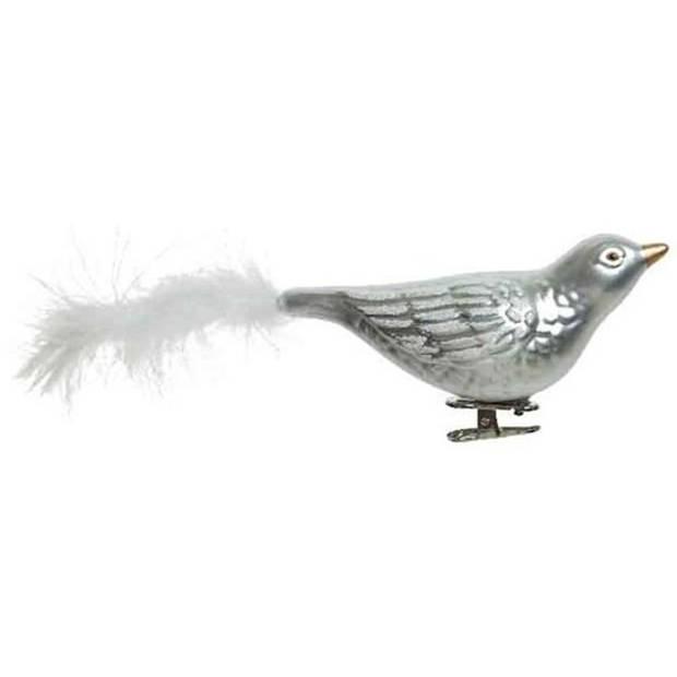 2x Kerstboomversiering vogel op clip zilver glitter 25 cm - Kerstboom decoratie - zilveren kerstversieringen