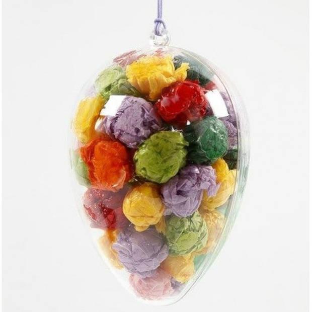 Paasversiering hangend ei van plastic 10 cm - 4 stuks - Pasen = Paaseieren - Paasdecoratie hobby/knutsel DIY materiaal