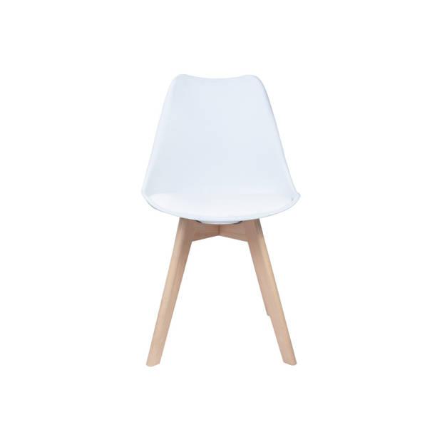 Eetkamerstoel Set van 4 wit met zitvulling Kuipstoel