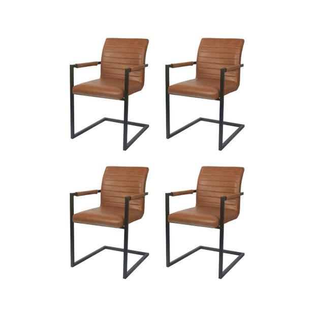 Eetkamerstoel Set van 4 cognac Kuge design
