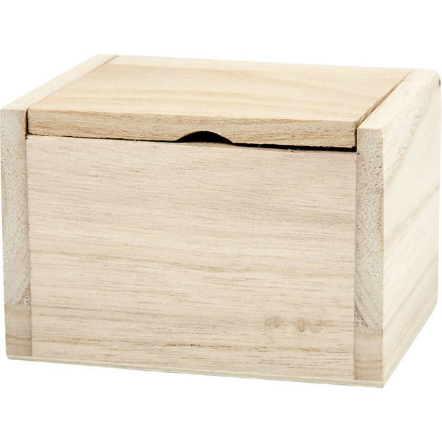Creotime houten versierbare doos met opklapbaar deksel.