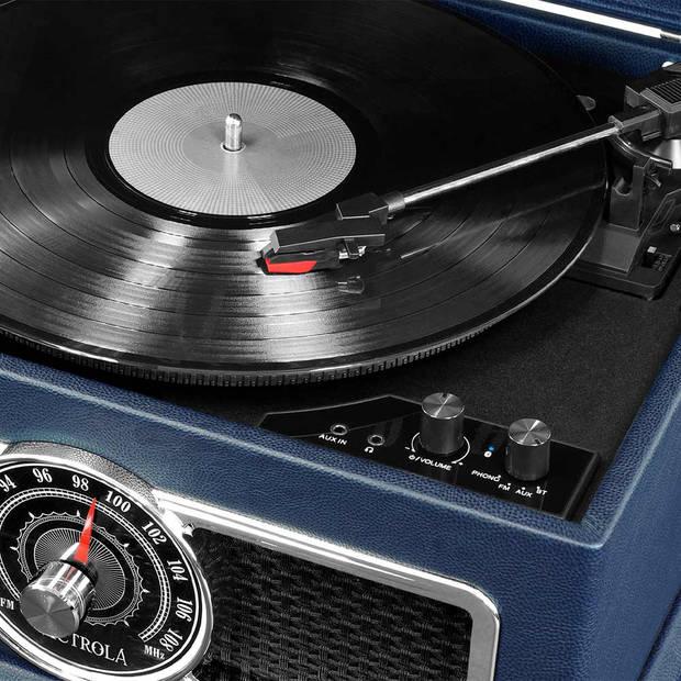 Victrola VTA-810B Retro Platenspeler Bluetooth 4 in 1 Mahonie Blauw