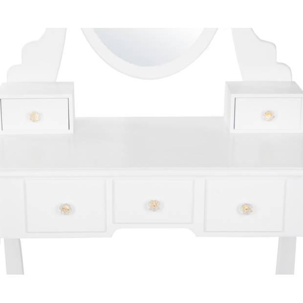 Kaptafel Mara wit met zitbankje en spiegel