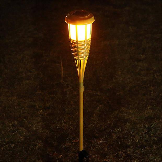 Relaxwonen - Solar bamboe fakkels met vlam effect - Uniek - Trend 2020 - Milieu vriendelijk - 12 stuks