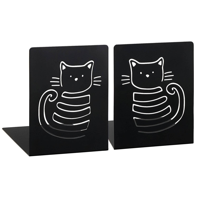 Moses boekensteun Miauw zwart staal 12,5 x 16 x 16 cm 2 stuks