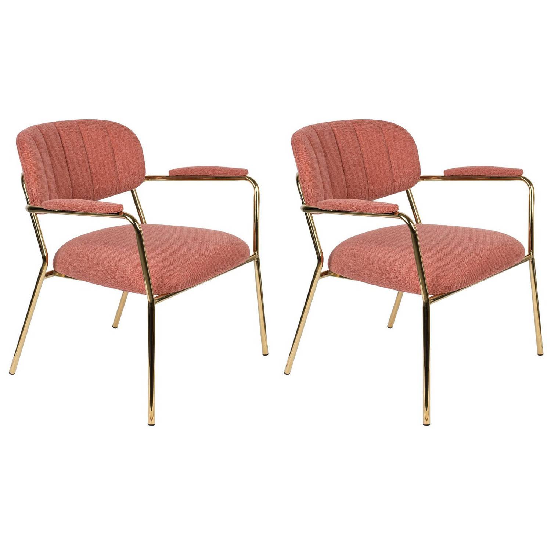24Designs Arliss Lounge Stoel Armleuningen Set Van 2 Stof Roze -