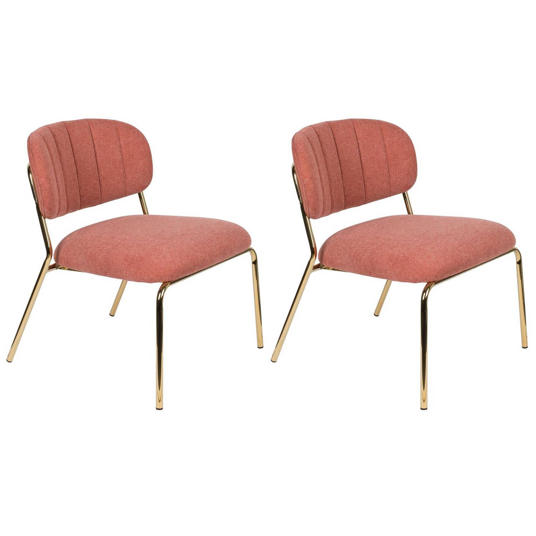 24Designs Arliss Lounge Fauteuil Set Van 2 Stof Roze Goudkleurig