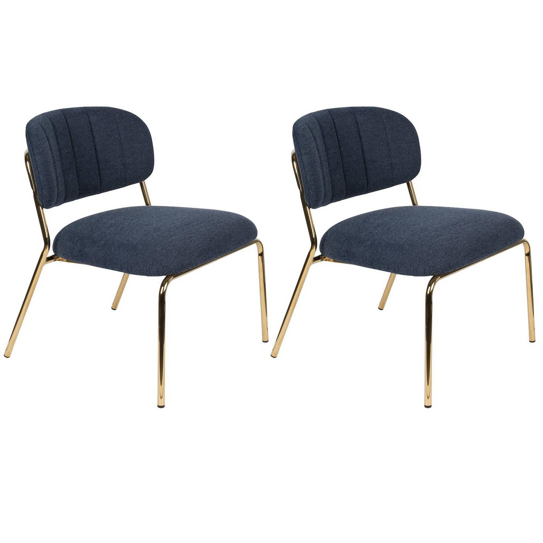 24Designs Arliss Lounge Fauteuil Set Van 2 Stof Donkerblauw -