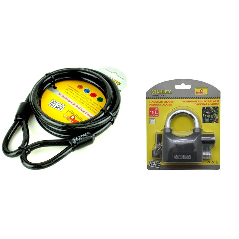Staalkabel 1.5 m met alarm hangslot 100 db fietsslot-kabelslot