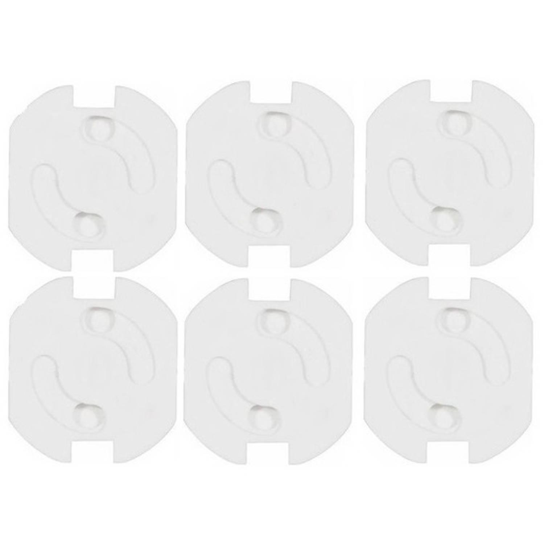 Korting 6x Stopcontact Beveiliging Klem stopcontactbeveiligers Wit Met Randaarde Stopcontactbeschermers Kindveilig