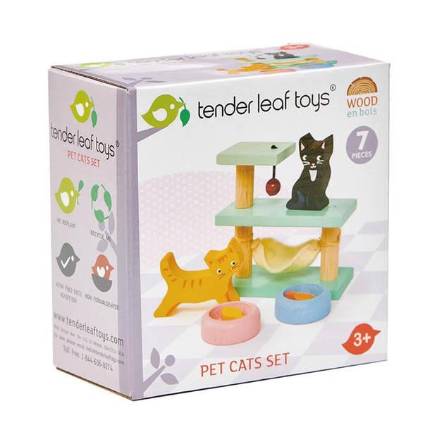 Tender Toys huisdierenset katten hout 7-delig