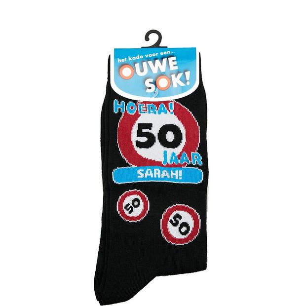 Sokken cadeau verkeersbord 50 jaar Sarah - 50e verjaardag - verjaardagssokken / feestsokken