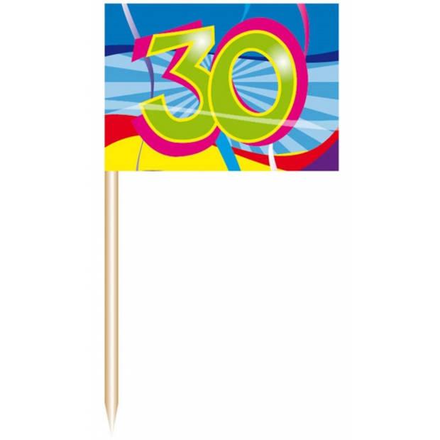 150x stuks Cocktail prikkers 30 jaar thema feestartikelen en versieringen