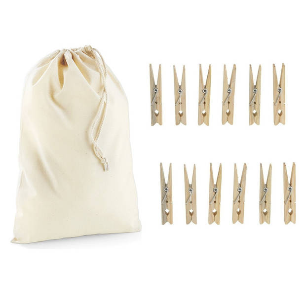 Wasknijperzakje / tasje met afsluitkoord en 20x houten wasknijpers - knijperzak / opbergtas