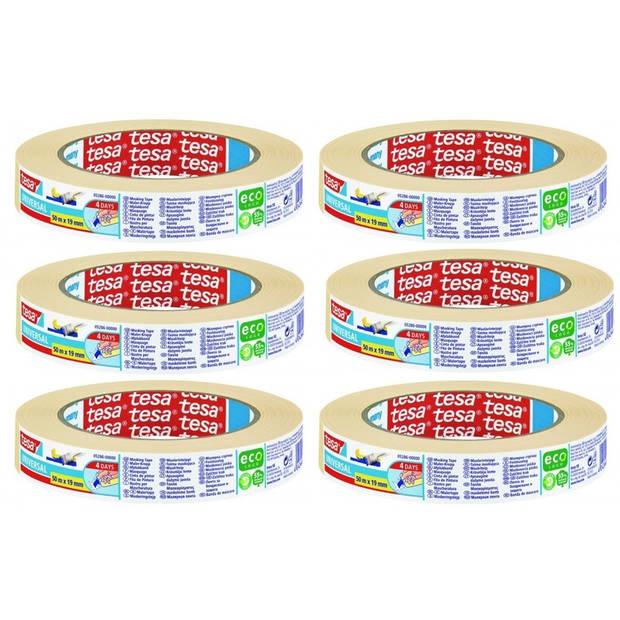 6x Tesa afplaktape/schilderstape 19 mm x 50 m - Verf afplakband/tape 19 mm x 50 m 6 rollen