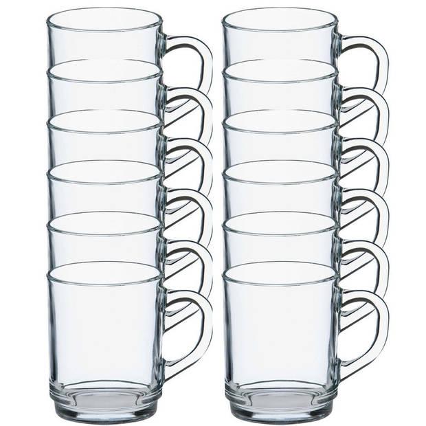 12x Theeglazen/koffieglazen Versailles transparant 250 ml