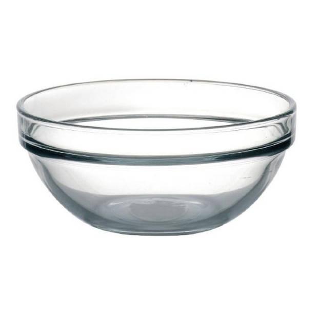 4x Glazen schaaltje/kommetje 10 cm - Snacks/toetjes serveren - Schaaltjes/kommetjes van glas - Keukenbenodigdheden